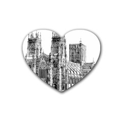 York Cathedral Vector Clipart Heart Coaster (4 pack)