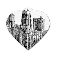 York Cathedral Vector Clipart Dog Tag Heart (One Side)