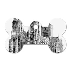 York Cathedral Vector Clipart Dog Tag Bone (One Side)