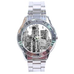 York Cathedral Vector Clipart Stainless Steel Analogue Watch