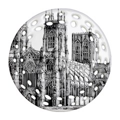 York Cathedral Vector Clipart Ornament (Round Filigree)