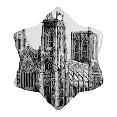 York Cathedral Vector Clipart Snowflake Ornament (Two Sides)