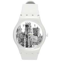York Cathedral Vector Clipart Round Plastic Sport Watch (M)