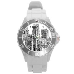 York Cathedral Vector Clipart Round Plastic Sport Watch (L)
