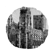 York Cathedral Vector Clipart Standard 15  Premium Round Cushions