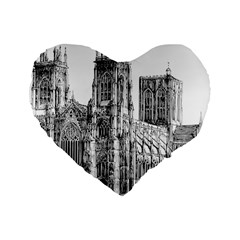 York Cathedral Vector Clipart Standard 16  Premium Heart Shape Cushions