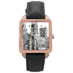 York Cathedral Vector Clipart Rose Gold Leather Watch