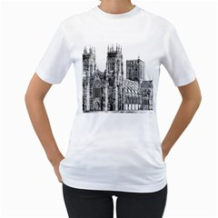 York Cathedral Vector Clipart Women s T-Shirt (White)