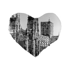 York Cathedral Vector Clipart Standard 16  Premium Flano Heart Shape Cushions