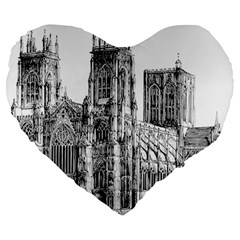 York Cathedral Vector Clipart Large 19  Premium Flano Heart Shape Cushions