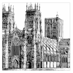 York Cathedral Vector Clipart Large Satin Scarf (Square)