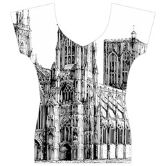 York Cathedral Vector Clipart Women s V-Neck Cap Sleeve Top