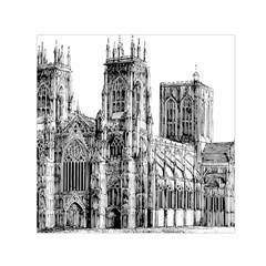 York Cathedral Vector Clipart Small Satin Scarf (Square)