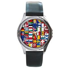 Europe Flag Star Button Blue Round Metal Watch