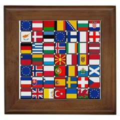 Europe Flag Star Button Blue Framed Tiles