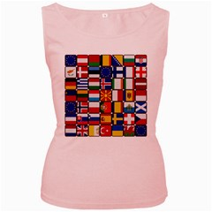 Europe Flag Star Button Blue Women s Pink Tank Top