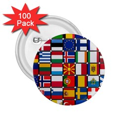 Europe Flag Star Button Blue 2 25  Buttons (100 Pack)