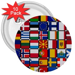 Europe Flag Star Button Blue 3  Buttons (10 pack)