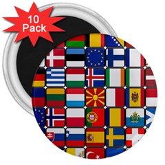 Europe Flag Star Button Blue 3  Magnets (10 Pack)