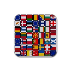 Europe Flag Star Button Blue Rubber Square Coaster (4 pack)