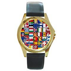 Europe Flag Star Button Blue Round Gold Metal Watch