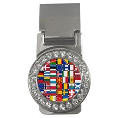 Europe Flag Star Button Blue Money Clips (CZ)
