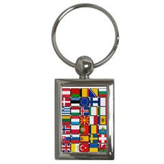 Europe Flag Star Button Blue Key Chains (Rectangle)