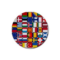 Europe Flag Star Button Blue Rubber Round Coaster (4 pack)