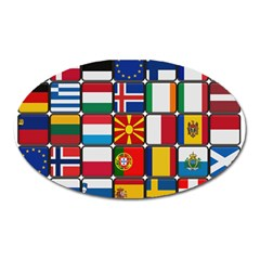 Europe Flag Star Button Blue Oval Magnet