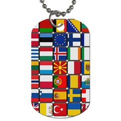 Europe Flag Star Button Blue Dog Tag (One Side)