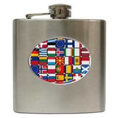 Europe Flag Star Button Blue Hip Flask (6 oz)
