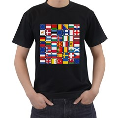 Europe Flag Star Button Blue Men s T-Shirt (Black) (Two Sided)
