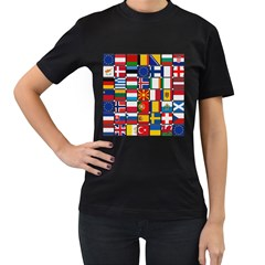 Europe Flag Star Button Blue Women s T-Shirt (Black) (Two Sided)