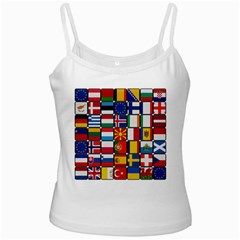 Europe Flag Star Button Blue Ladies Camisoles