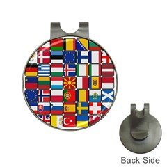Europe Flag Star Button Blue Hat Clips with Golf Markers