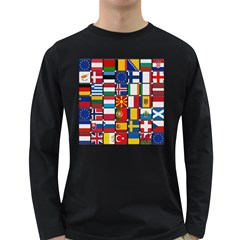 Europe Flag Star Button Blue Long Sleeve Dark T-Shirts