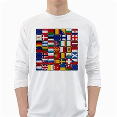 Europe Flag Star Button Blue White Long Sleeve T-Shirts