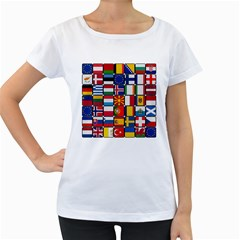 Europe Flag Star Button Blue Women s Loose-Fit T-Shirt (White)