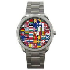 Europe Flag Star Button Blue Sport Metal Watch