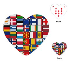 Europe Flag Star Button Blue Playing Cards (heart)