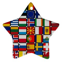 Europe Flag Star Button Blue Star Ornament (Two Sides)