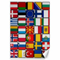 Europe Flag Star Button Blue Canvas 12  x 18