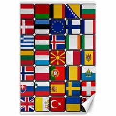 Europe Flag Star Button Blue Canvas 24  x 36