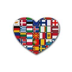Europe Flag Star Button Blue Heart Coaster (4 pack)