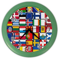 Europe Flag Star Button Blue Color Wall Clocks