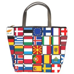 Europe Flag Star Button Blue Bucket Bags