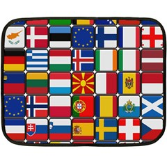 Europe Flag Star Button Blue Double Sided Fleece Blanket (Mini)