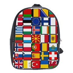 Europe Flag Star Button Blue School Bags(Large)