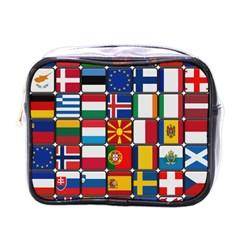 Europe Flag Star Button Blue Mini Toiletries Bags