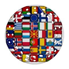 Europe Flag Star Button Blue Ornament (Round Filigree)
